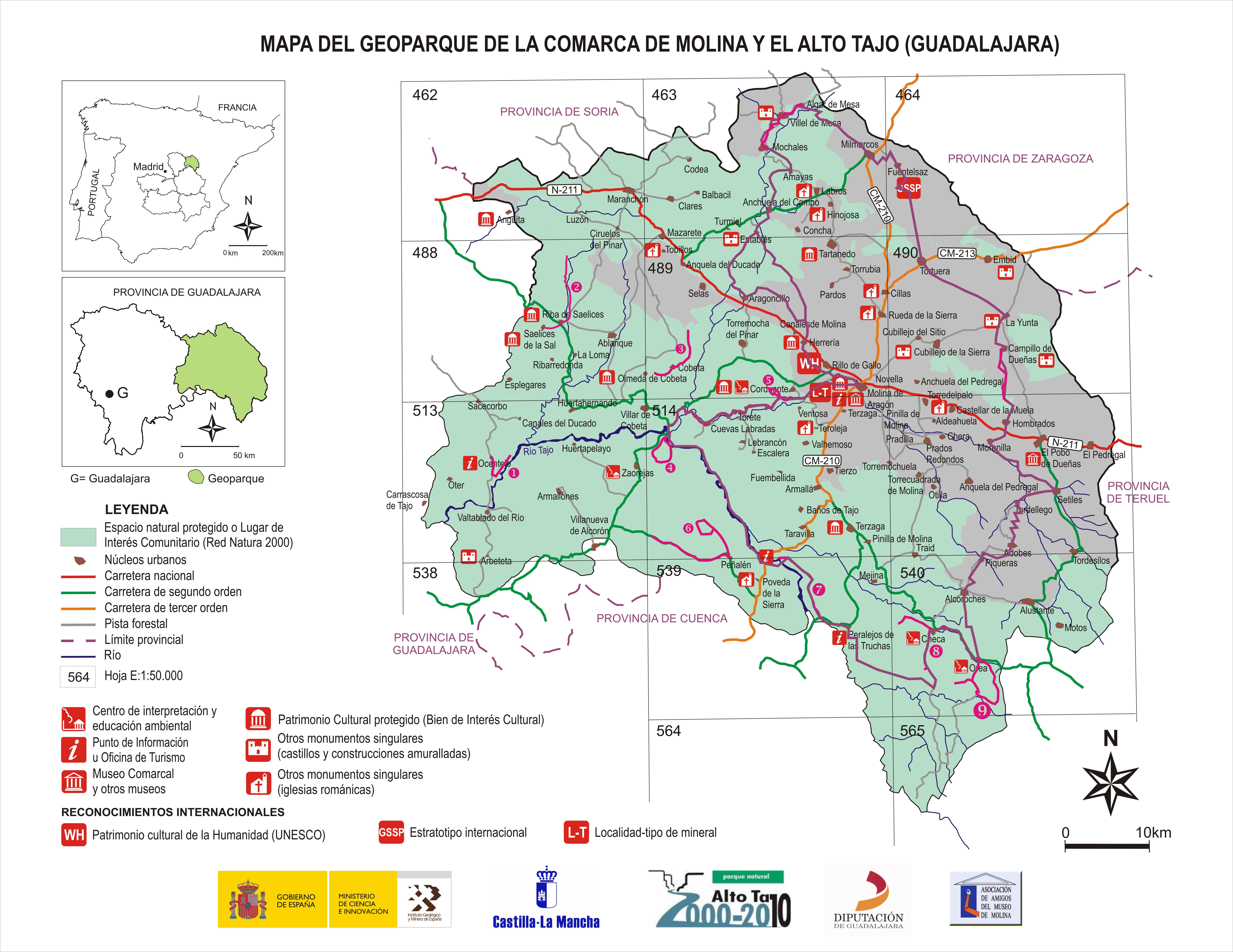 Molina De Aragon Mapa.Mapa Del Geoparque Www Geoparquemolina Es